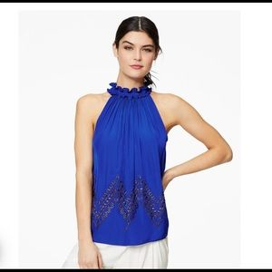 NWT Ramy Brook Genna Azure Blue Studded Top